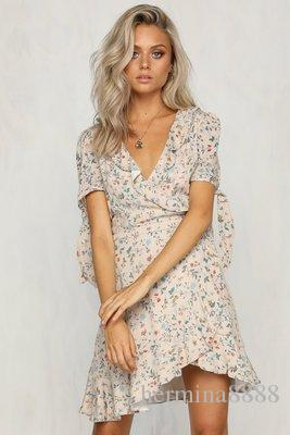 Summer Vintage Women Short Sleeve Wrap Boho Floral Mini Dress Ladies Holiday V neck Print Dress