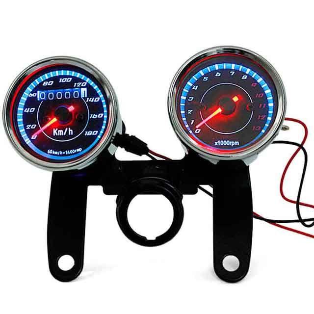 오토바이 스쿠터에 대한 0-180KM / H 주행 속도계 회전 속도계 듀얼 컬러 LED 백라이트 게이지 미터 마일리지