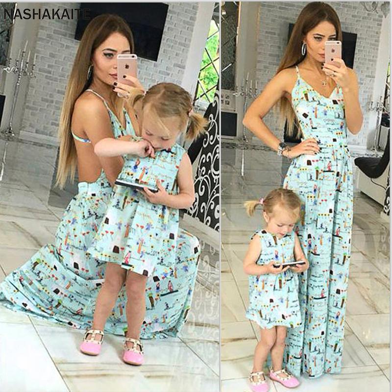 Nashakaite Mommy and Me ropa sin mangas dulce de la correa de espagueti linda largas del vestido hija de la madre de los vestidos Vestido Mae E Filha Y19051103