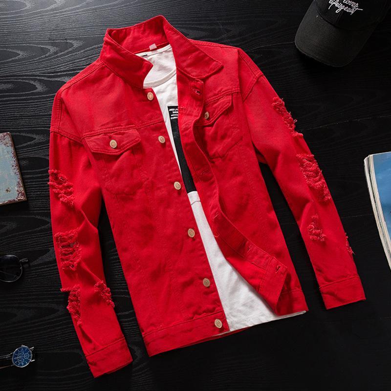 Мужские куртки # 7414 Весна 2021 розовый красный черный хип-хоп дним джинсовая куртка мужчины ветровка уличная одежда разорванные джинсы Homme повседневный бомбардировщик