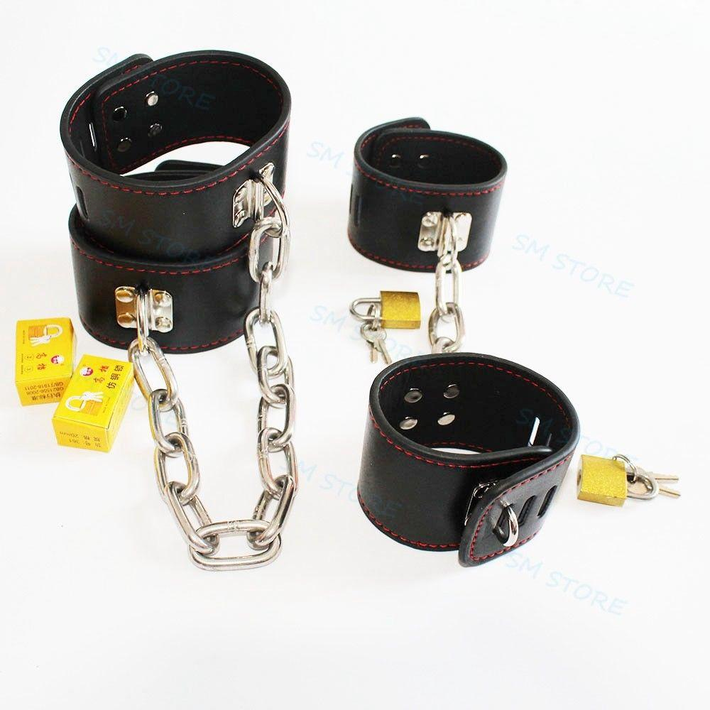 Faux Leather Slave Restraint Chain Handcuff PadLock Roleplay Wrist Ankle Cuffs #R52