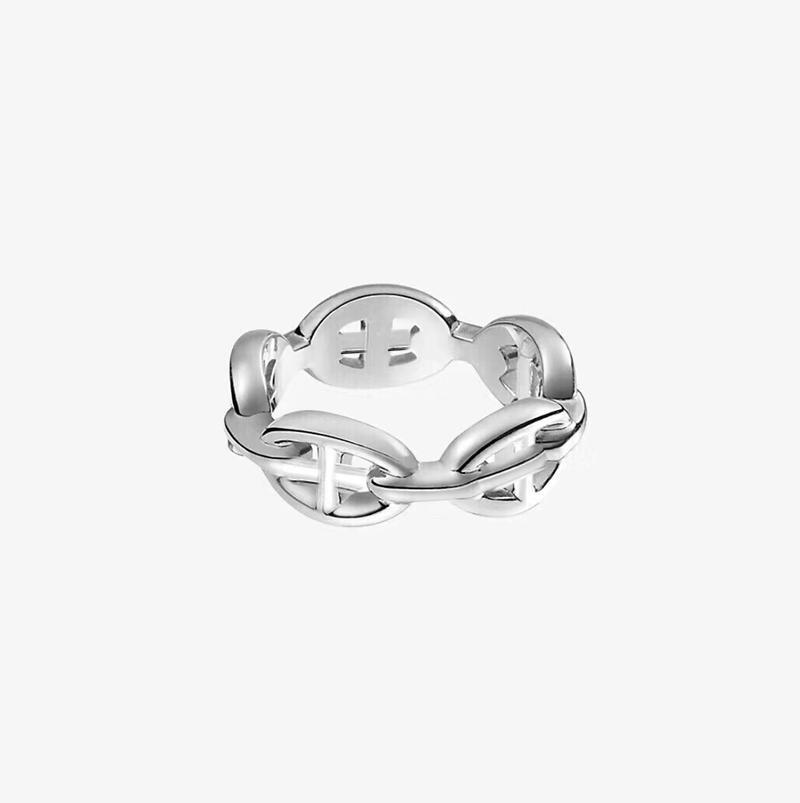 aço inoxidável Moda jóias unha anéis de noivado de ouro 18k para mulheres designer de luxo anel de casamento h senhora e meninas presente