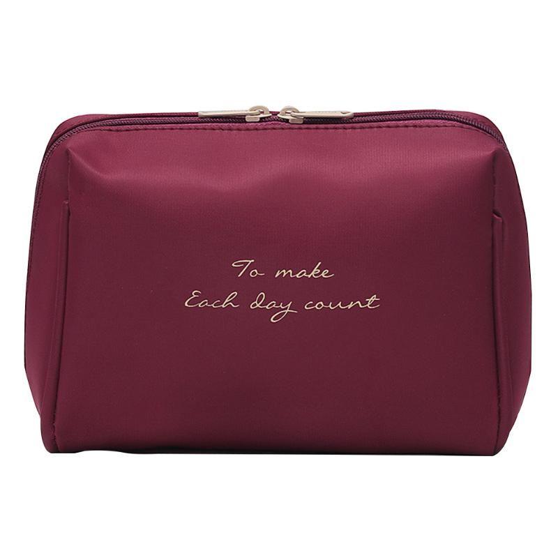 Women Letter Print Universal Waterproof Organizer Make Up Zipper Nylon Cases Travel Cosmetic Bag Large Capacity Portable Storage