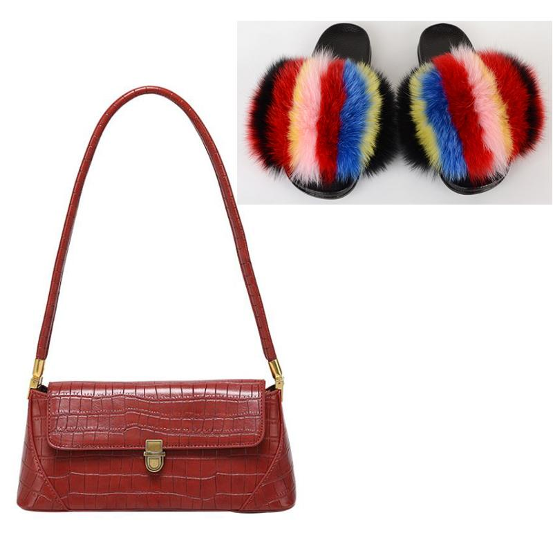 Frauen PU-Handtasche Regenbogen-Pelz-Slipper beiläufige Art und Weise flaumige Plüsch-Pelz-Slides Dame Bunter Strand Flip Flops Hot