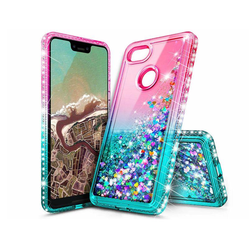 Case Liquid Aqua Shiny Glitter Bling
