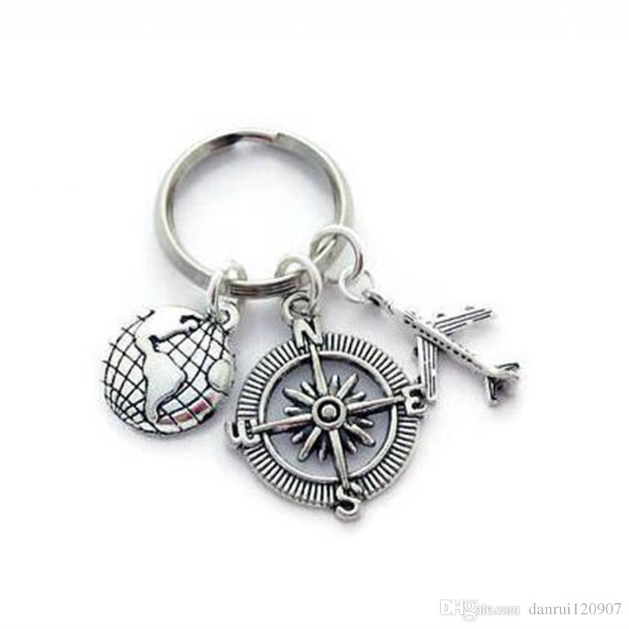 Fashion Tibetan silverGlobe travel compass world map airplane Keychain - charm pendant key chain ring DIY Fit Keychain - 150