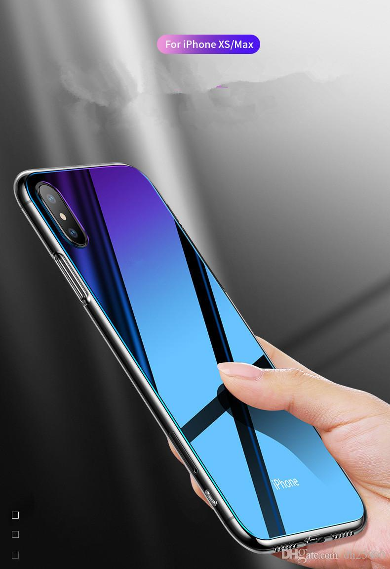 Suitable for iphone xr apple mobile phone case Japan and Korea new plating tpu transparent gradient glass cover wholesale Free shipping