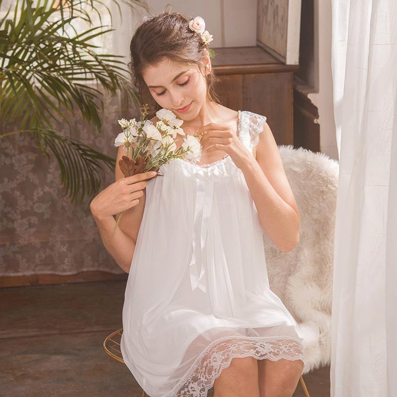 ZOOLIM Princesse Gecelik Kolsuz Ev Giyim Elbise Uzun Sleepshirts Pamuk pijamalar Gevşek Beyaz Vintage sabahlık Gecelik