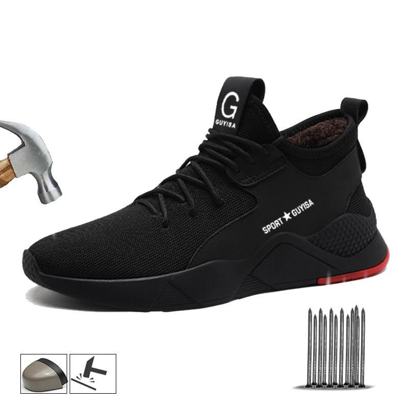 Yadibeiba Homens Winter Material sapatos botas de segurança indestrutível trabalho com tênis Trabalho Toe Aço Segurança Puncture-Proof