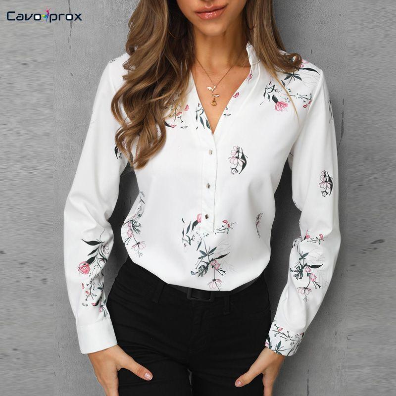 Mulheres impressão floral manga comprida camisa casual senhora do escritório desgaste da rua moda primavera outono elegante gola blusa SH190906