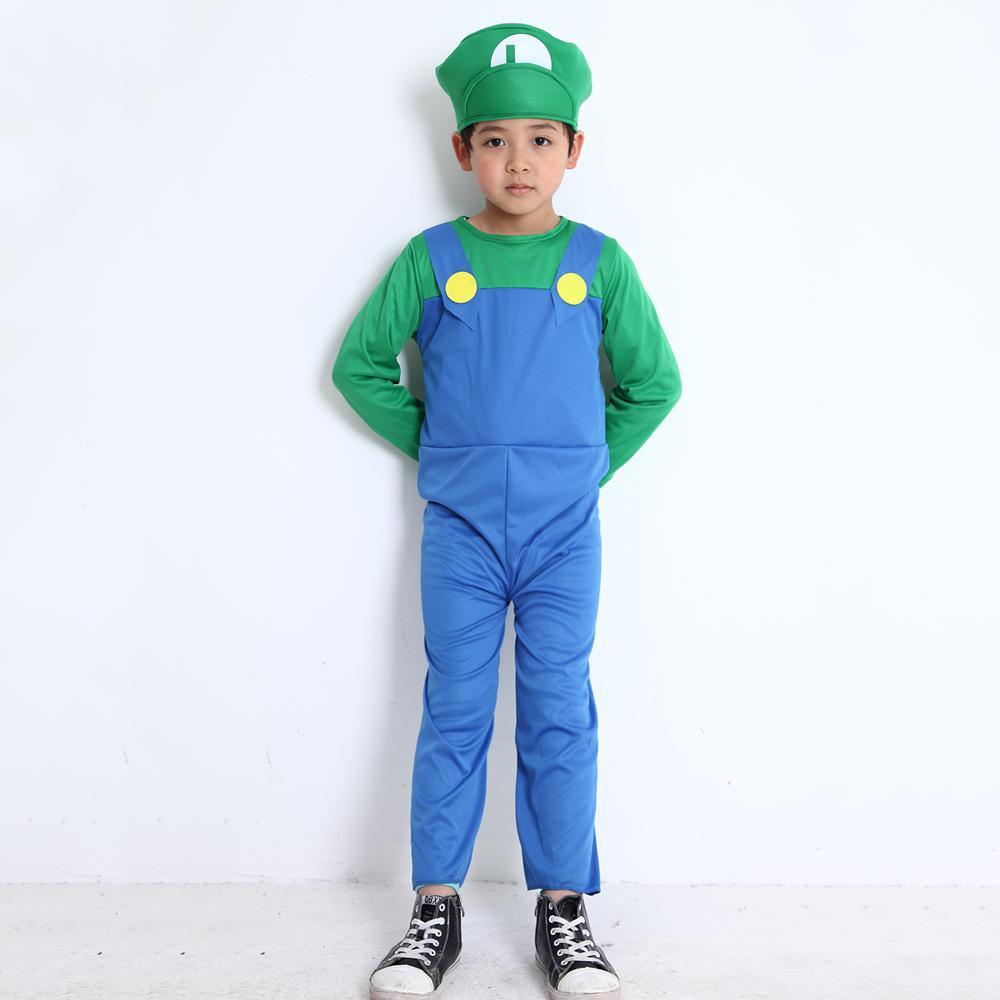 Adultes et Enfants Super Mario Bros Costume De Danse Ensemble Enfants Halloween Party Costume MARIO LUIGI pour Enfants Cadeaux