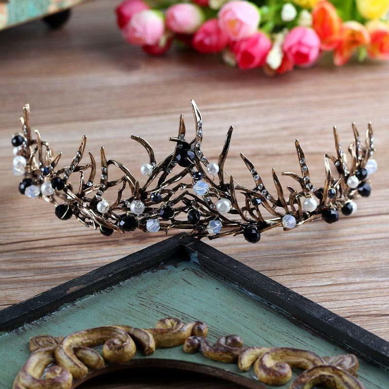 Rosa de la moda Negro Cristal novia Tiara y joyería Princesa diadema corona nupcial de la boda del tocado del pelo de los accesorios BH