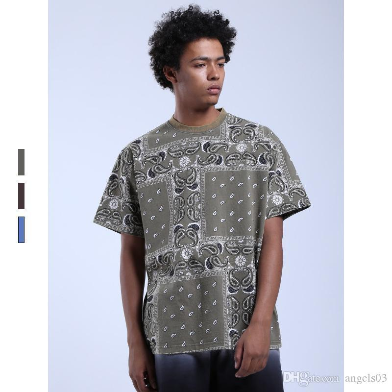 Moda Hombres HipHop verano Pañuelo para la camiseta de Calle Paisley top camisetas