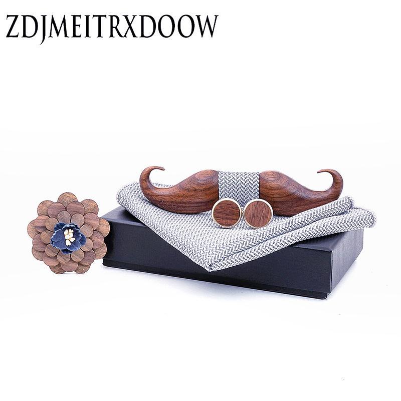 3D Negro nuez barba Bowtie de madera para el arco para hombre de la boda de Papillon Corbatas Impreso lazo madera Conjunto Pañuelo de hombre Traje SH190919