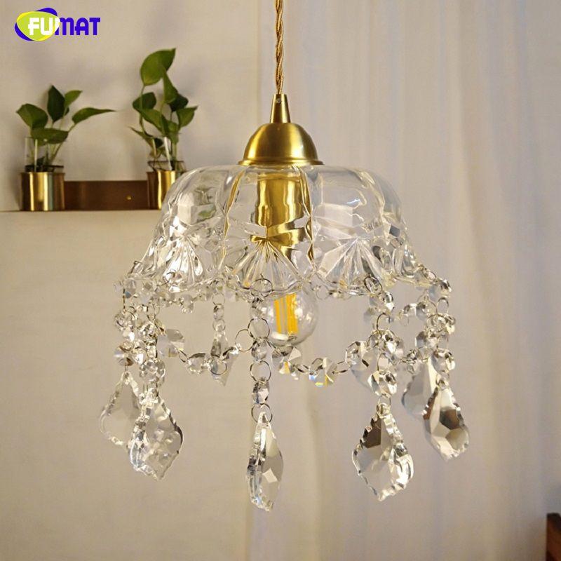 FUMAT Crystal K9 Pendant Lights Copper LED Lamps Umbrella Form Modern Style Lighting For Dinning Room Bedroom Home Office Study