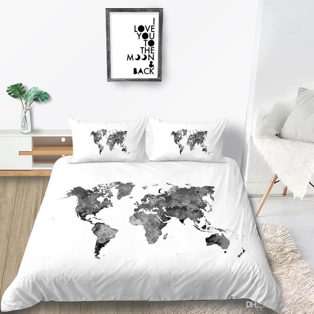 World Map Bedding Set Creative Fashionable White Duvet Cover Queen King  Twin Full Single Double Soft Bed Cover With Pillowcase Twin Comforter Cover  ...
