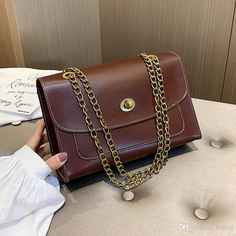 Vintage Leder Umhängetaschen Für Frauen 2019 Luxus Kette Schulter Umhängetasche Dame Kette Handtaschen Weibliche Sperre Taschen Drop Shipping