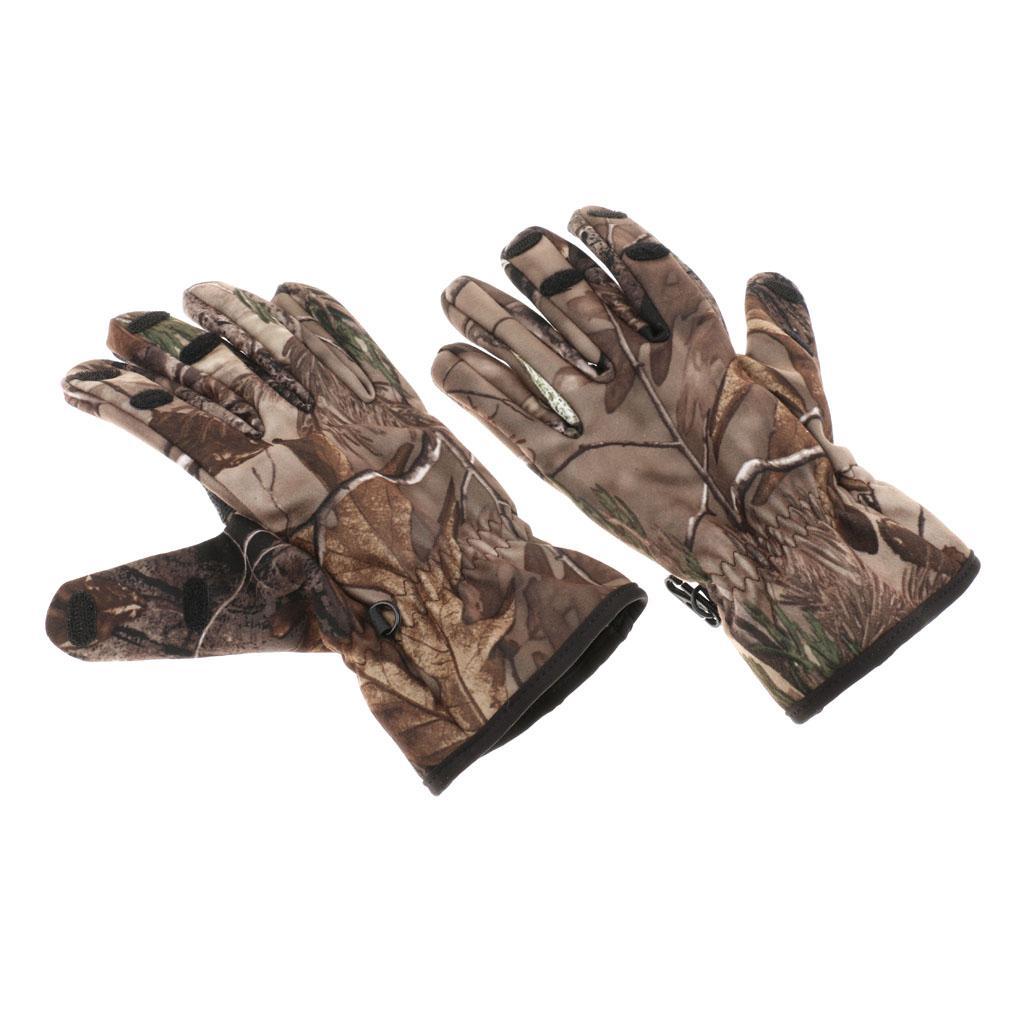 ideal para uso en Woodland IVEN 1 par de guantes de camuflaje de hoja 3D al aire libre antideslizante deportes caza guantes para hombres