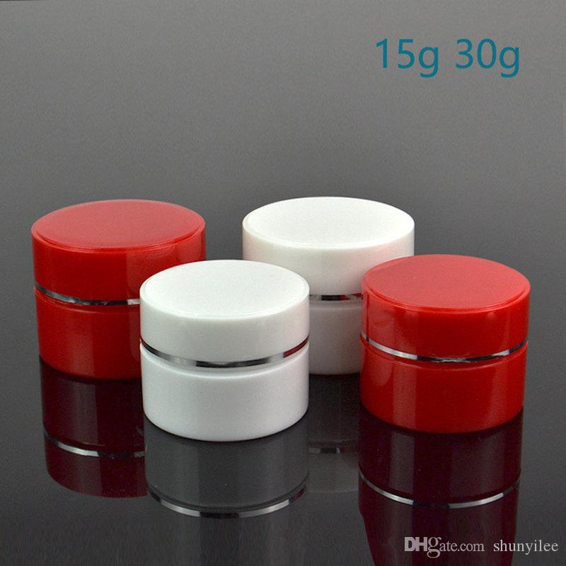 15g 30g赤と白の化粧品の瓶、銀の側面のプラスチッククリーム瓶の空のスキンケアクリーム容器速い船積みF20171031