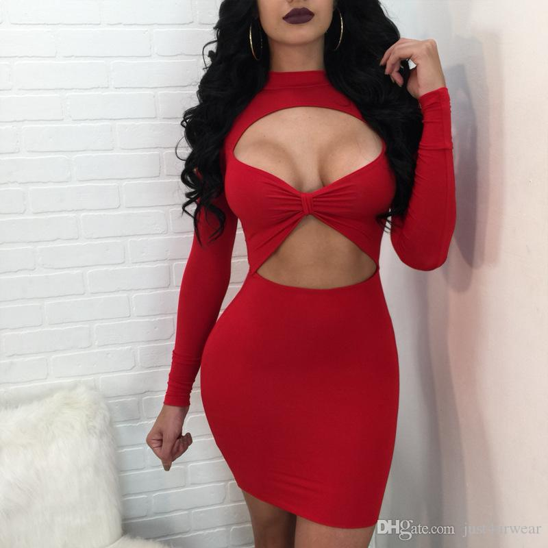 New Bodycon Dress Mini Summer Dresses Black Red Women O Neck With Long Sleeve Hip Hollow Out Evening Sexy Dress For Lady