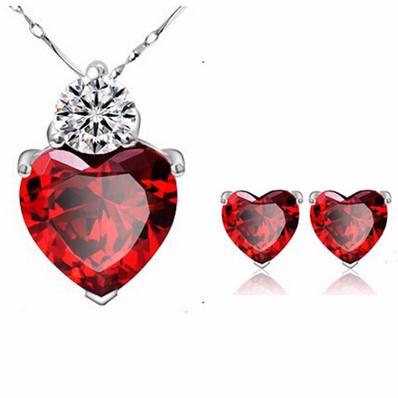 Kız Kadınlar Zirkon Kırmızı Kalp Takı Seti kolye kolye Küpe Set Taşlı Mor Beyaz Gümüş Zincir Gelin Mücevherler Tasarımları