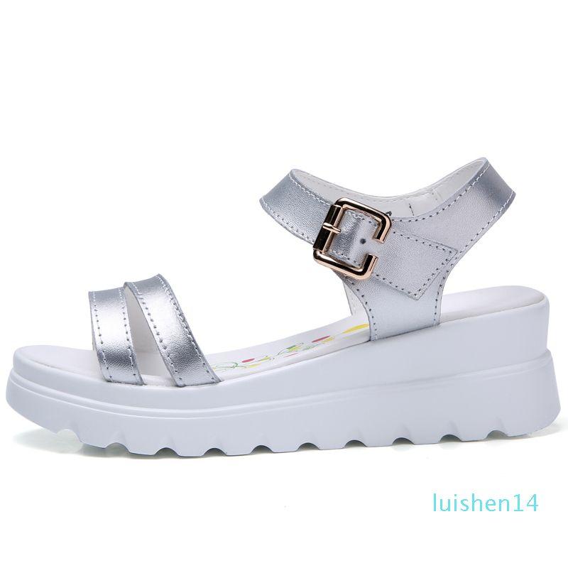 Genuine Leather Women Platform Beach sandals shoes ladies Flats Sneakers Sliver White Flip Flop shoe summer Mid Heel footwear l14