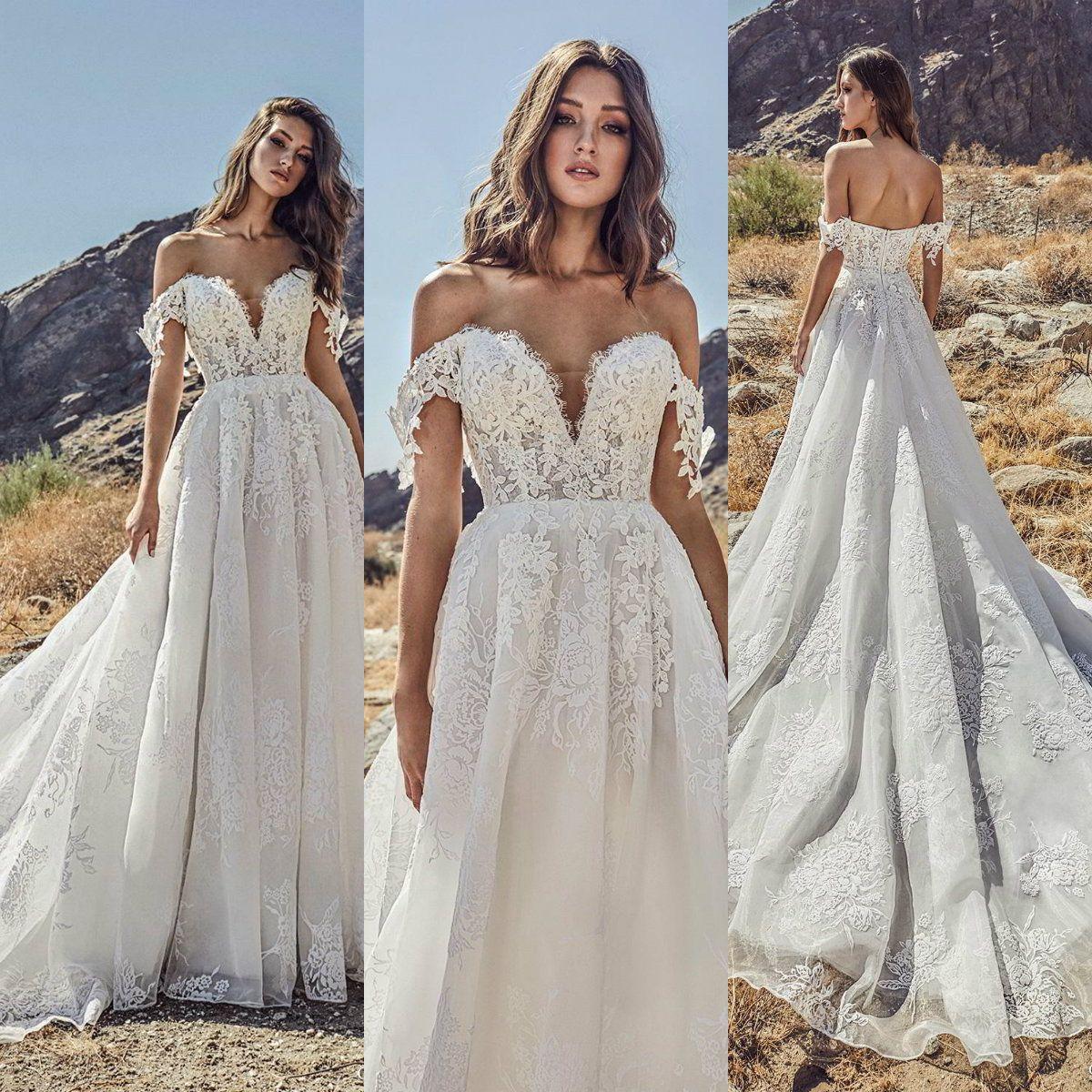Julie Vino 2019 Brautkleider Schulterfrei Spitze Land Sweep Zug Brautkleider Plus Size Bohemian Vestido De Novia