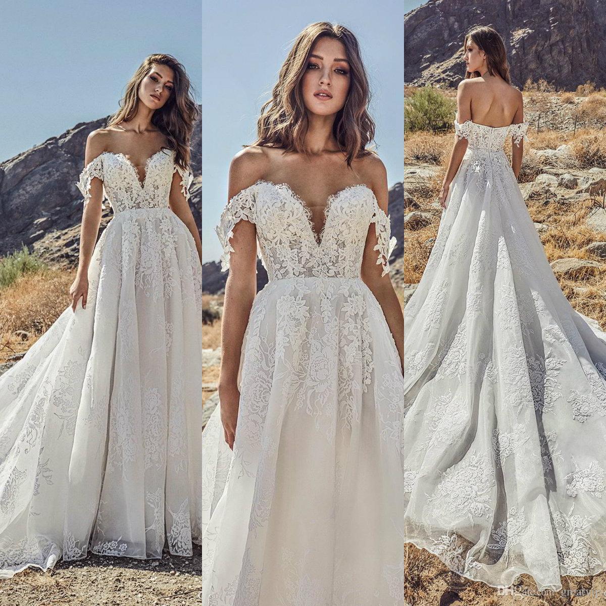 Julie Vino 2019 Beach Wedding Dresses Off Shoulder Lace Country Sweep Train Bridal Gowns Plus Size Bohemian Vestido De Novia