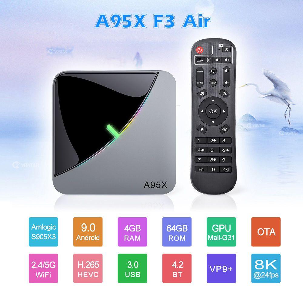 A95X F3 Air Android 9.0 Tv Box RGB Light Amlogic S905X3 USB3.0 1080P H.265 4K 60fps 8K Smart Media palyer Home Movie