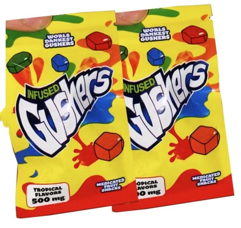 Mordi Dankest Gushers medicati Snack di frutta medicata 500mg Borse Gusher Gusher Sacchetti tropicali e acidi Sapori tropicali Edibles Gummies Imballaggio Borse Mylar