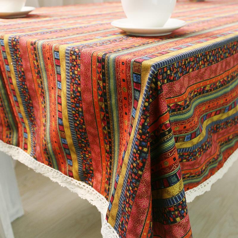 Bunte Streifen Linenlace Tischdecke Küche Esstisch Dekorationen Heimrechteckige Partei Tischhussen Weihnachten Cloth
