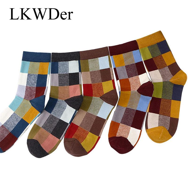 LKWDer 5 Pairs Combed Cotton Men's Socks Autumn Winter Compression Socks Size 39-45 Fashion Colorful Plaid Dress Happy Socks Men
