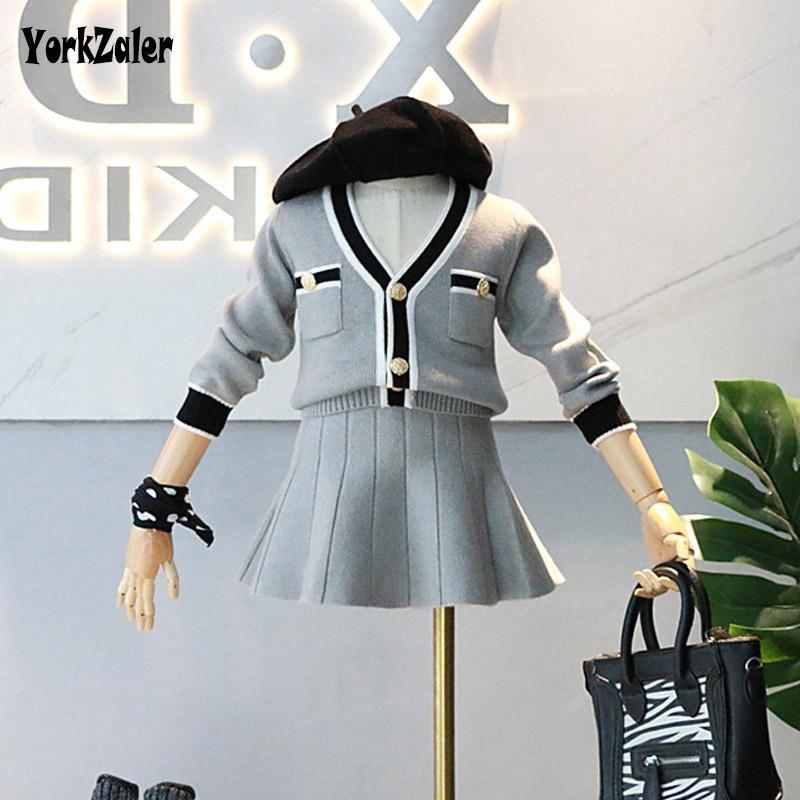 YorkZaler Zarif Kızlar 2 adet Kıyafetler Uzun Kollu Çizgili Hırka Etek Prenses Çocuk Giyim Seti Bahar Rahat Giysileri