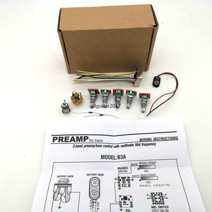 نادر B3A نموذج 3 فرقة PREAMP لهجة تحكم مع Swithabte منتصف تردد الكهربائية باس النشط PREAMP أسلاك باس أجزاء الغيتار