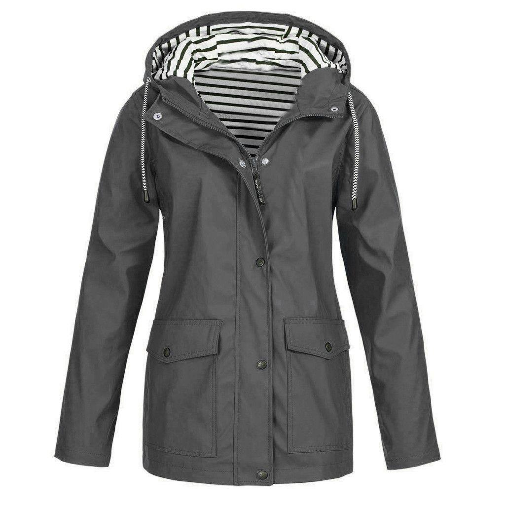 KLV Otoño Invierno Mujeres chaquetas de la capa caliente Sólido Chaqueta impermeable al aire libre Plus impermeable con capucha impermeable a prueba de viento libre del envío 4.10
