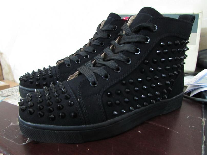 the best attitude 7eea0 64603 Fashion Black Suede High Top Studded Spikes Casual Flats Luxury Red Bottom  Shoes Brand New Men Maoding Women Party Designer Sneakers Scholl Shoes ...