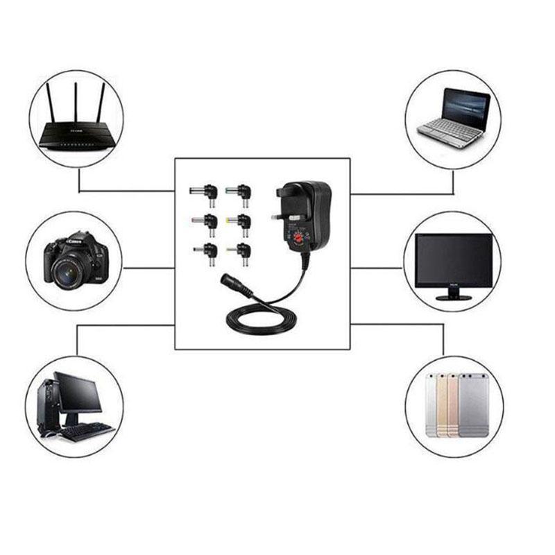 3V 4.5V 5V 6V 7.5V 9V 12V 1A Регулируемый адаптер питания EU Plug Plug AC / постоянного тока Универсальный 12V 1000MA Переключение питания 12W