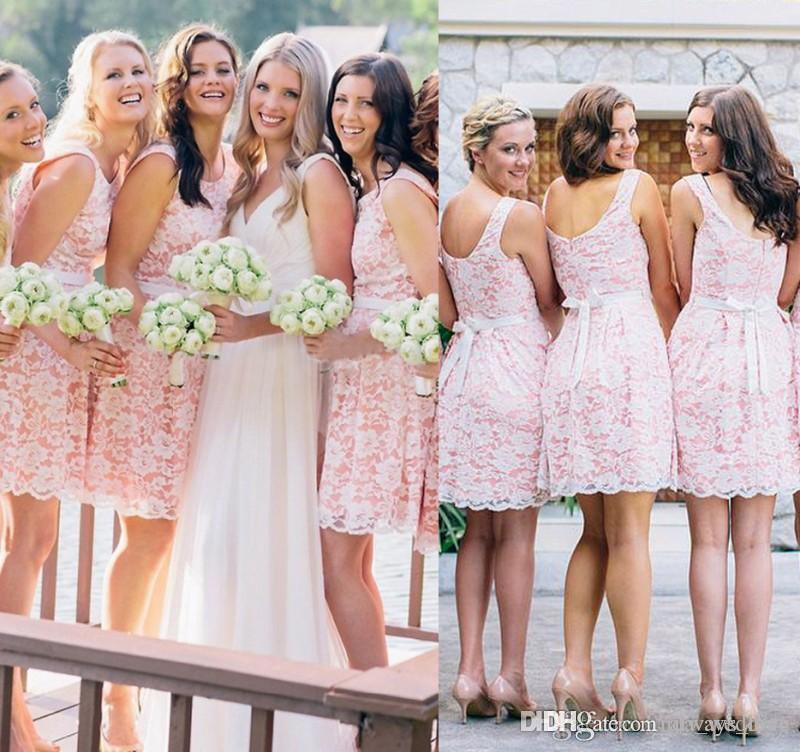 2019 Summer Spring Lovely Bridesmaid Dress Pink Country Beach Garden Formal Wedding Party Guest Maid of Honor Gown Plus Size Custom Made