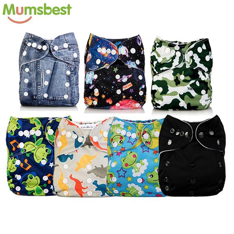 [Mumsbest] 11.11 Big promotion 7 Pcs/Lot Pocket Printing Baby Cloth Diaper Baby Boy Nappies No inserts Waterproof Washable NappyMX190910