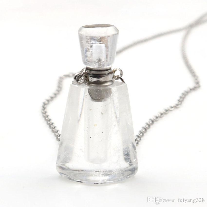 Wholesale 5 pcs Silver Plated Rock Crystal Perfume Bottle Pendant Essential Oil Necklace Green Fluorite Stone Jewelry