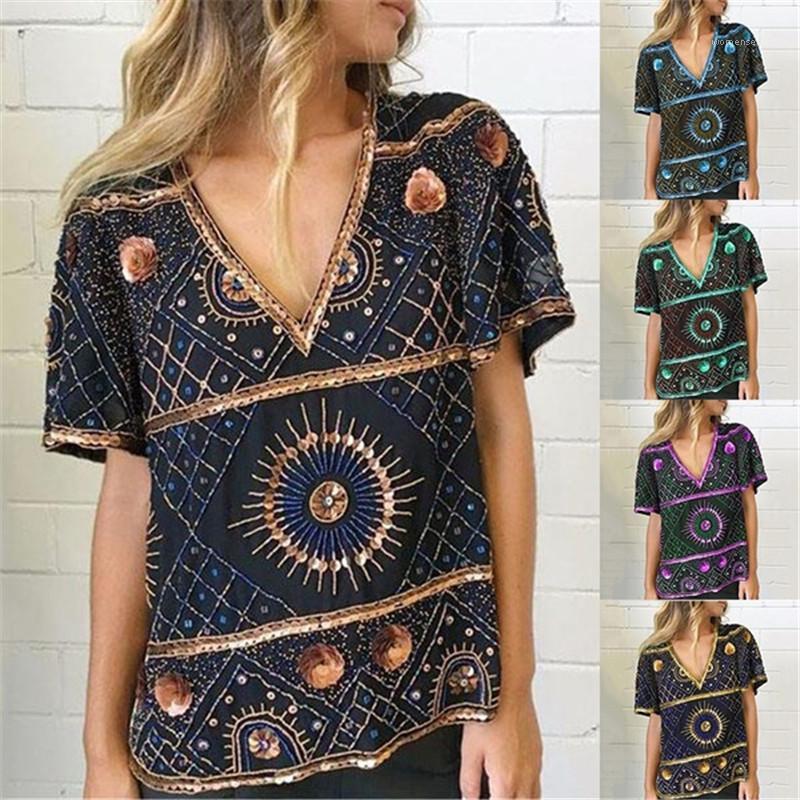 Las mujeres con cuello en V camiseta floja del verano de manga corta ocasional de la impresión camisetas Famale diseñador de moda camiseta