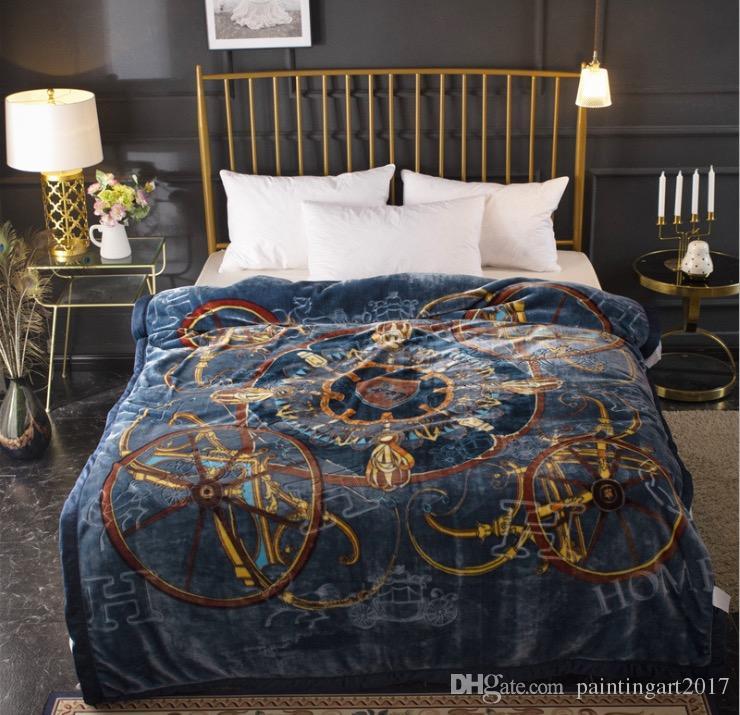 Manta gruesa de Raschel de otoño e invierno Tencel Cloud en las mantas de la cama Doble manta para adultos