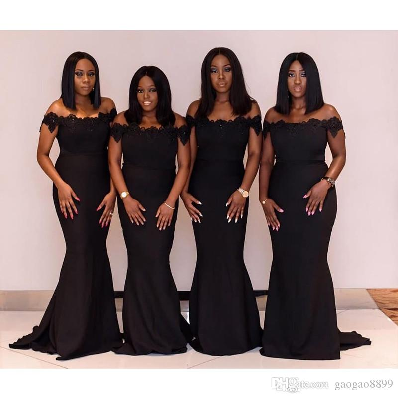 2020 New Designer black Mermaid Bridesmaid Dresses Off Shoulder Lace Applique Sequined Beads Maid Of Honor Dress Prom Dress Evening Gowns
