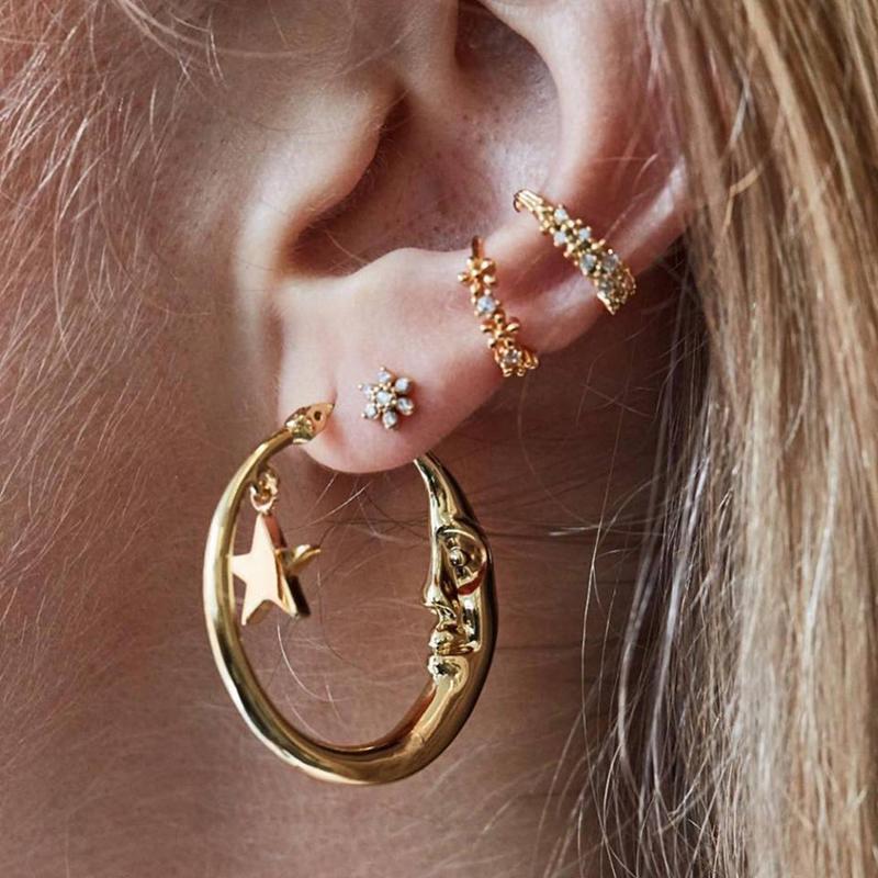 الذهب زهرة نجوم القمر وجه الهندسة أقراط الذهب الأذن كليب مجموعة شخصية نساء حزب مجوهرات اكسسوارات أنثى حلق مجموعة