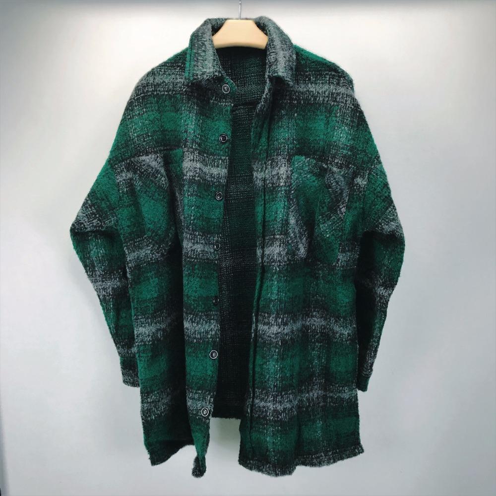 Kanye West Chequeado Boucle recortada teclas de arriba chaqueta larga del estilo de la tela escocesa Spread cuello del abrigo coastsd6ff #