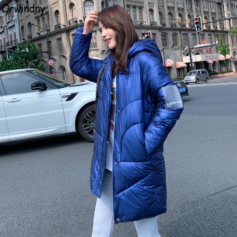 Giù cappotto del cotone del rivestimento Orwindny addensare Warm giacca lunga impermeabile giacca invernale donne brillante superficie di donne con cappuccio Parkas T191128