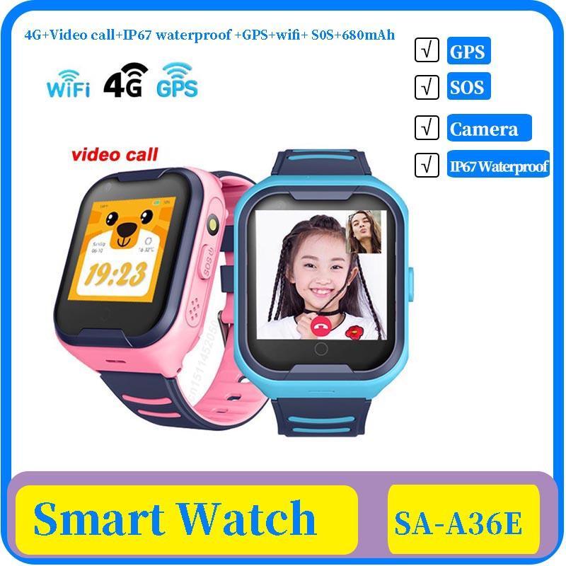 دعوة 4G شبكة A36E واي فاي GPS SOS الذكية ووتش الاطفال فيديو IP67 للماء إنذار كاميرا ساعة الطفل ووتش VS Q50 Q90