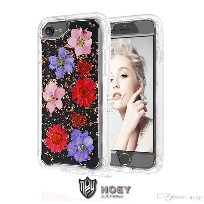 Capas para iPhone XS MAX XR X Limpar Phone Case real flores secas brilhante robô para iPhone 8 7 6S Além disso Galaxy S9