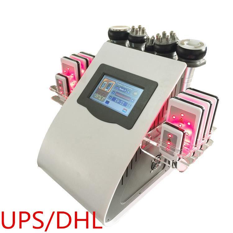 CE 6in1 40K 초음파 지방 흡입 캐비테이션 8 패드 Lllt Lipo 레이저 슬리밍 기계 진공 RF 바디 살롱 스파 장비