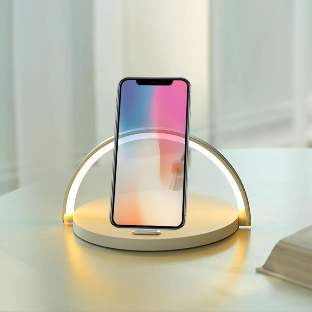 Fast Charge LED Desk Lamp with Qi Fast Wireless Charger USB Chargeable Table Bedside Night Light Portable Gifts phone PLD
